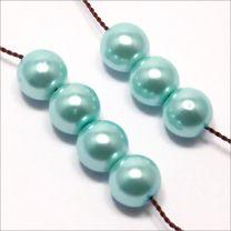 Perles Nacrées en Verre 8mm Turquoise Pastel