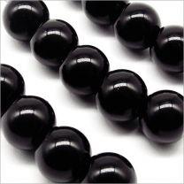 Perles Nacrées en Verre 10mm Noir