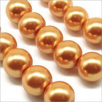Perles Nacrées en Verre 10mm Orange