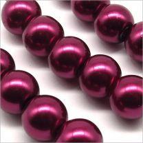 Perles Nacrées en Verre 10mm Rouge Grenat