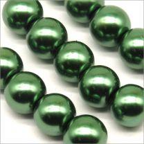 Perles Nacrées en Verre 10mm vert