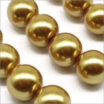 Perles Nacrées en Verre 12mm Doré foncé