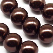 Perles Nacrées en Verre 12mm marron