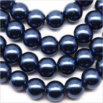 Perles Nacrées en Verre 8mm Bleu Roi