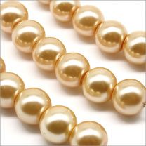 Perles Nacrées en Verre 8mm Jaune Aurore
