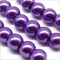 Perles Nacrées en Verre 8mm Bleu Lavande