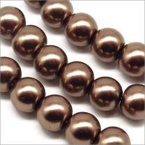 Perles Nacrées en Verre 8mm Marron
