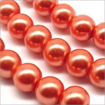 Perles Nacrées en Verre 8mm Orange
