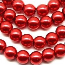 Perles Nacrées en Verre 8mm Rouge