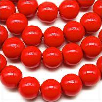 Perles Nacrées en Verre 8mm Rouge Vif