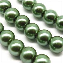 Perles Nacrées en Verre 8mm Noir