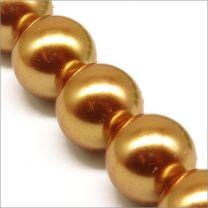 Perles Nacrées en Verre 14mm Doré foncé