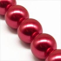 Perles Nacrées en Verre 14mm Rouge