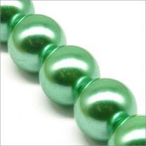 Perles Nacrées en Verre 14mm Turquoise