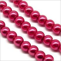 Perles Nacrées en Verre 4mm Rouge Framboise