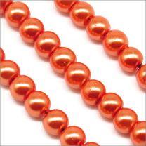Perles Nacrées en Verre 4mm Orange