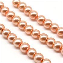 Perles Nacrées en Verre 4mm Rose Saumon