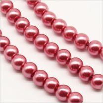 Perles Nacrées en Verre de Bohème 4mm Vieux Rose
