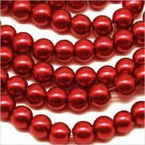 Perles Nacrées en verre 6mm Rouge