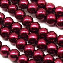 Perles Nacrées en verre 6mm Violet Bordeaux