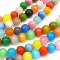 Perles Oeil de Chat en verre 10mm Mélange de couleur - Lot de 20 pcs