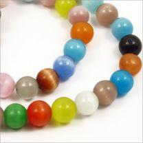 Perles Oeil de Chat en verre 8mm Mélange de couleur