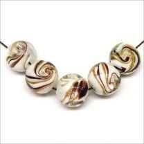 Perles Rondes artisanales en verre Lampwork Style Murano Blanc Feuille d'or 12mm