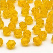 Perles Tchèque Toupies en Cristal 4mm Jaune