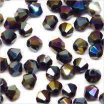 Perles Tchèque Toupies en Cristal 4mm Noir Irisé