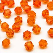 Perles Tchèque Toupies en Cristal 4mm Orange