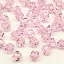 Perles Toupies en Cristal 4mm Rose Clair