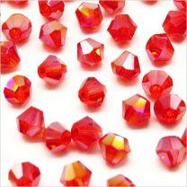 Perles Tchèques Toupies en Cristal 4mm Rouge Siam AB