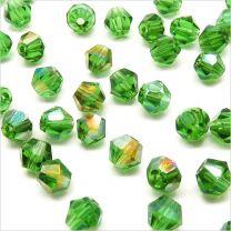 Perles Tchèque Toupies en Cristal 4mm Vert AB