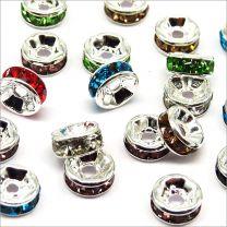 Perles Strass Rondelles Intercalaires 8x3mm Mélange de couleurs
